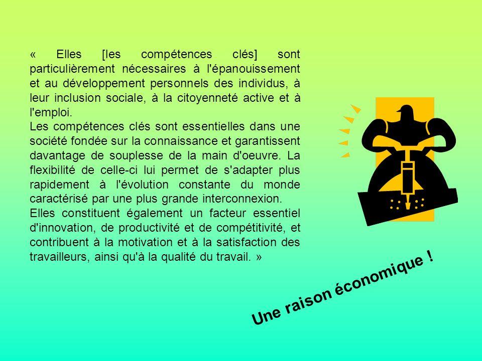 « Elles [les compétences clés] sont particulièrement nécessaires à l épanouissement et au développement personnels des individus, à leur inclusion sociale, à la citoyenneté active et à l emploi.