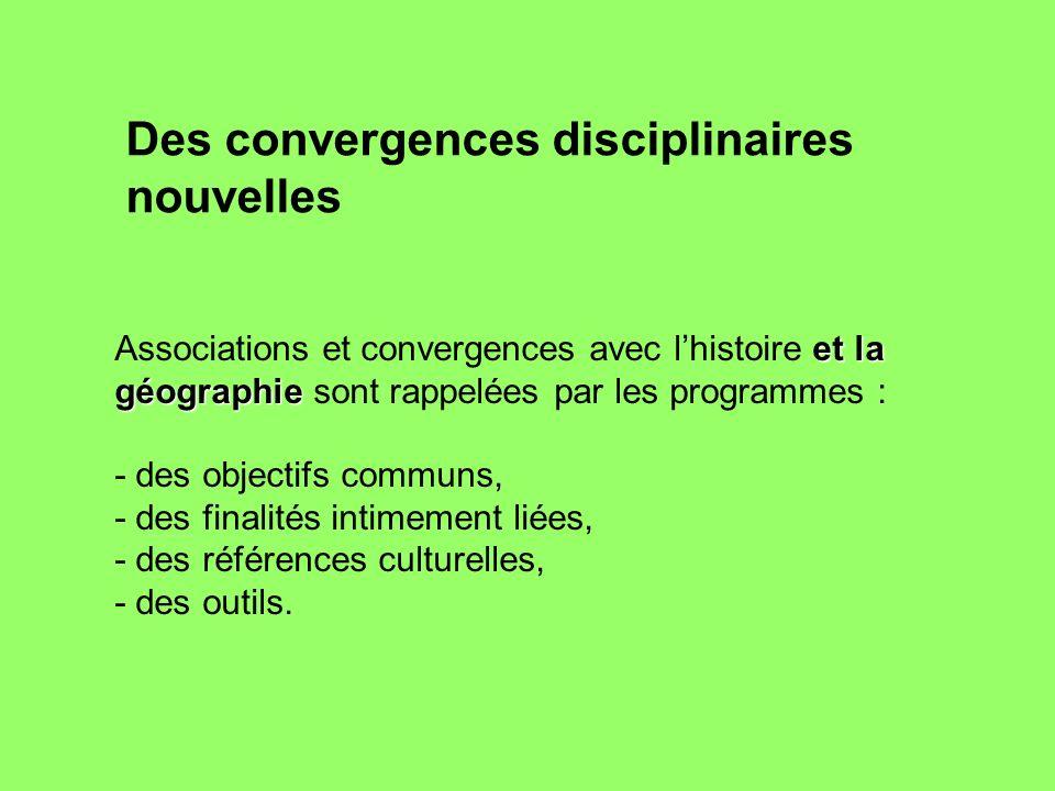 et la géographie Associations et convergences avec lhistoire et la géographie sont rappelées par les programmes : - des objectifs communs, - des final