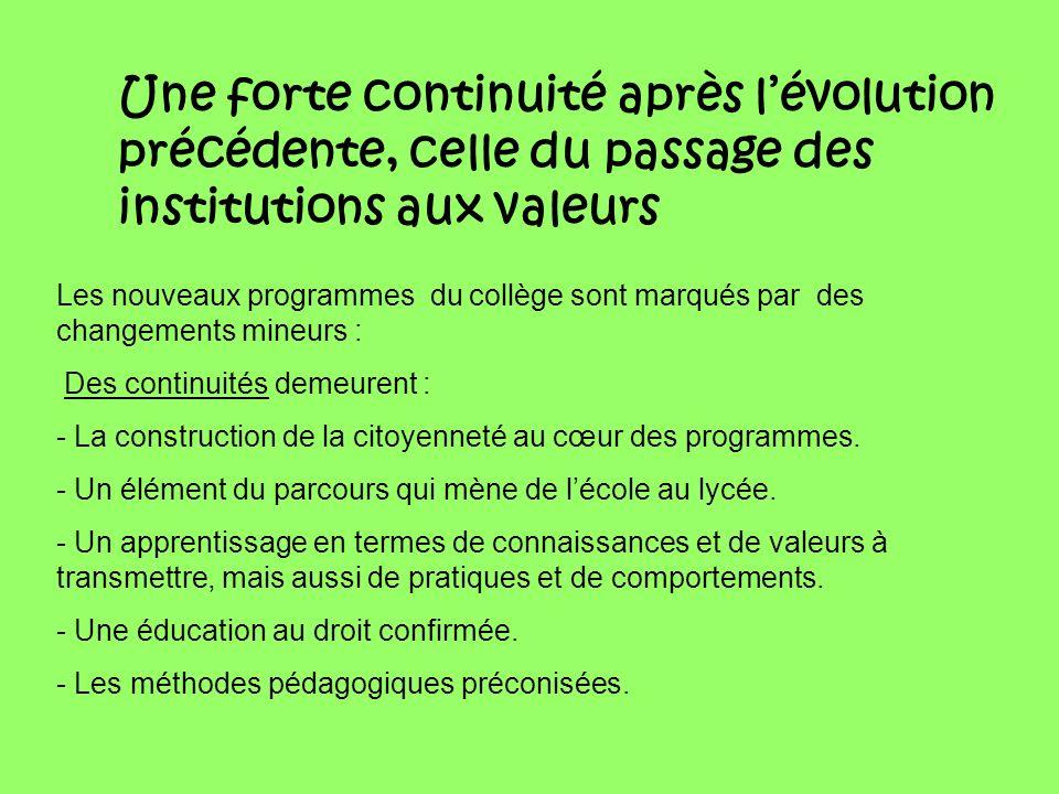 Une forte continuité après lévolution précédente, celle du passage des institutions aux valeurs Les nouveaux programmes du collège sont marqués par de