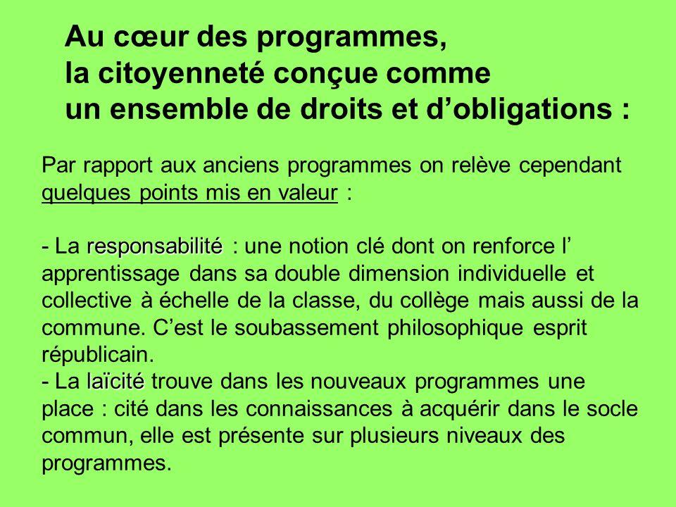 Au cœur des programmes, la citoyenneté conçue comme un ensemble de droits et dobligations : Par rapport aux anciens programmes on relève cependant que