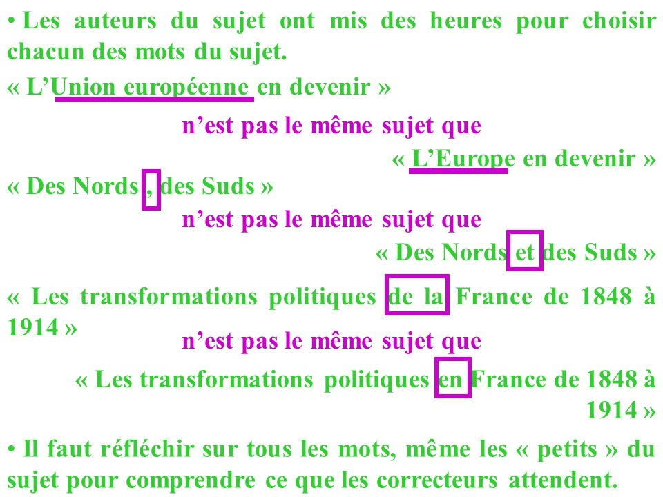 Les auteurs du sujet ont mis des heures pour choisir chacun des mots du sujet. « LUnion européenne en devenir » « Les transformations politiques de la