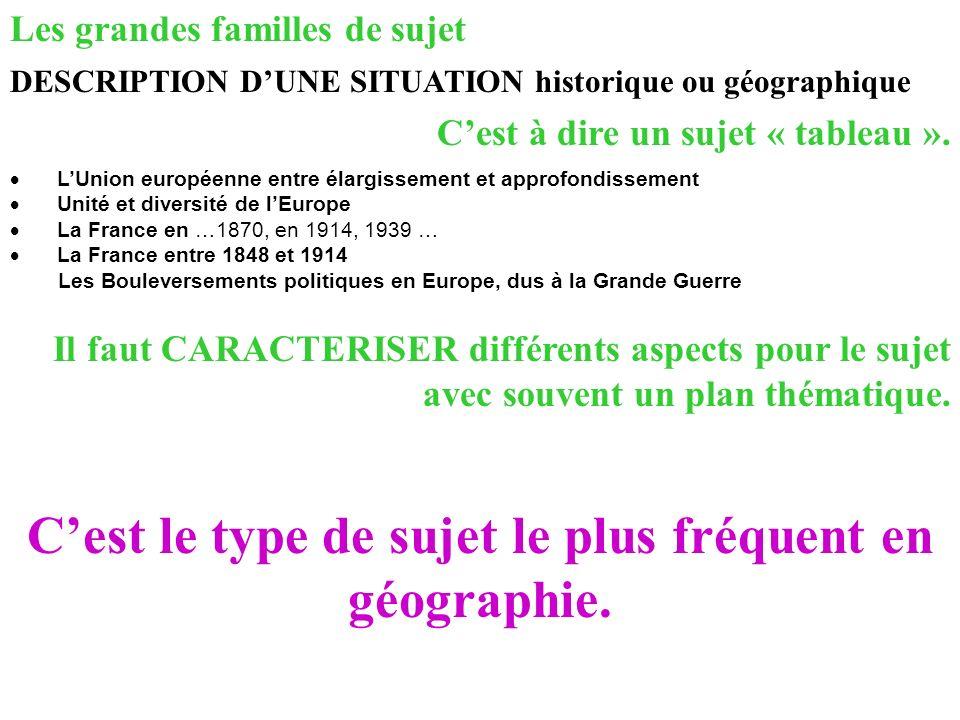 Les grandes familles de sujet DESCRIPTION DUNE SITUATION historique ou géographique LUnion européenne entre élargissement et approfondissement Unité e