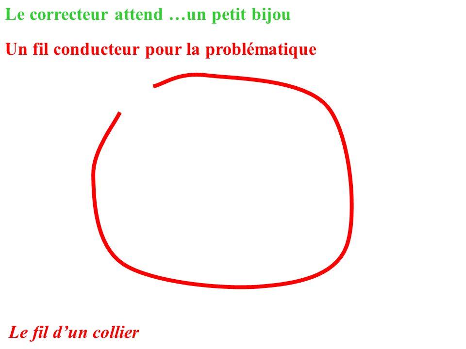 Le correcteur attend …un petit bijou Un fil conducteur pour la problématique Le fil dun collier