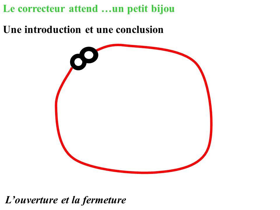 Le correcteur attend …un petit bijou Une introduction et une conclusion Louverture et la fermeture