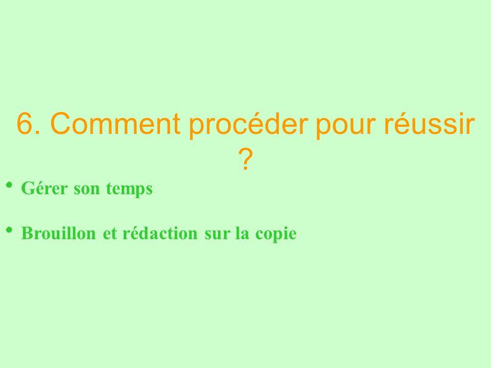 6. Comment procéder pour réussir Gérer son temps Brouillon et rédaction sur la copie