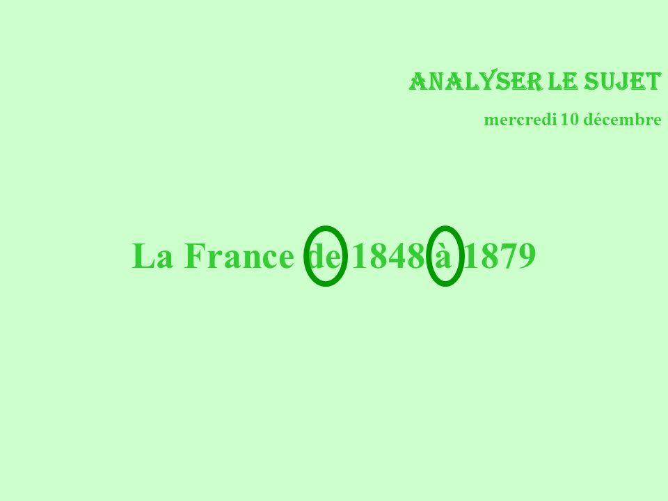 Analyser le sujet mercredi 10 décembre La France de 1848 à 1879