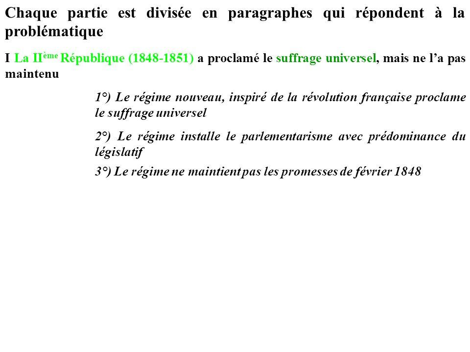 Chaque partie est divisée en paragraphes qui répondent à la problématique I La II ème République (1848-1851) a proclamé le suffrage universel, mais ne
