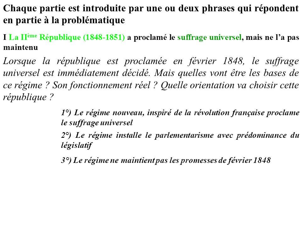 Chaque partie est introduite par une ou deux phrases qui répondent en partie à la problématique I La II ème République (1848-1851) a proclamé le suffr