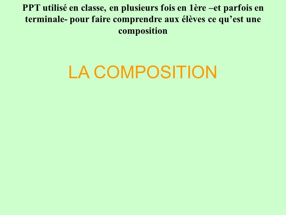 LA COMPOSITION PPT utilisé en classe, en plusieurs fois en 1ère –et parfois en terminale- pour faire comprendre aux élèves ce quest une composition