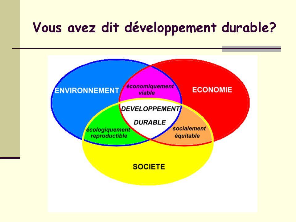Vous avez dit développement durable?