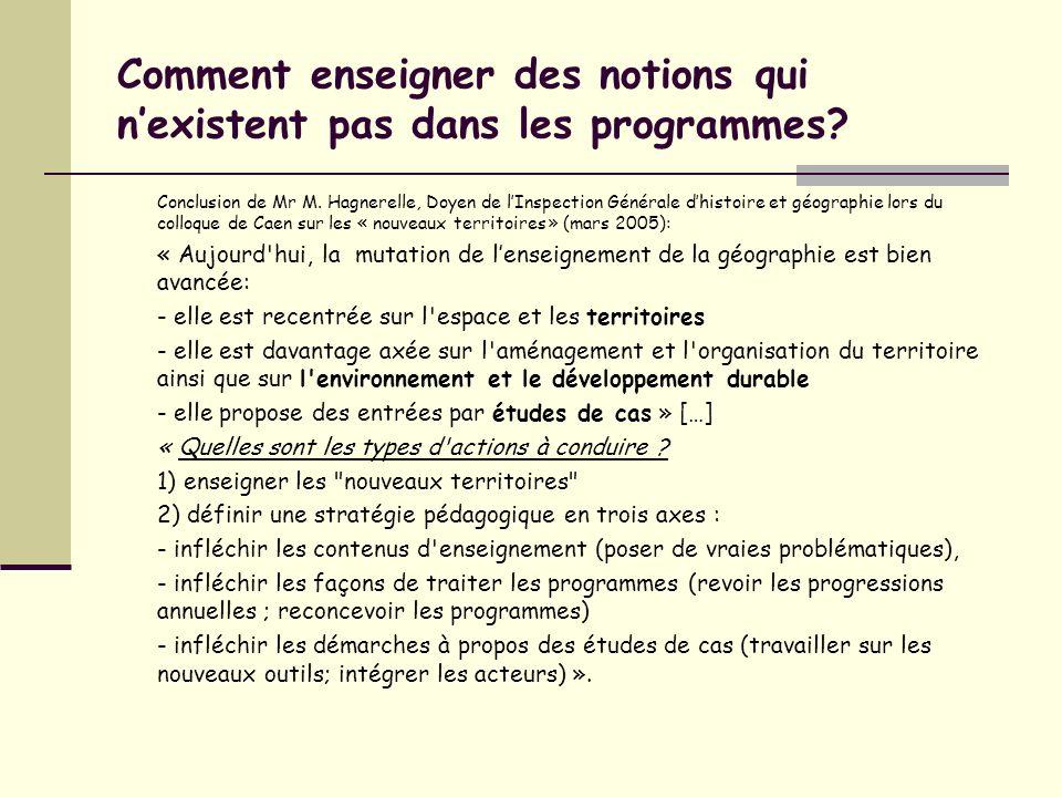 Comment enseigner des notions qui nexistent pas dans les programmes? Conclusion de Mr M. Hagnerelle, Doyen de lInspection Générale dhistoire et géogra