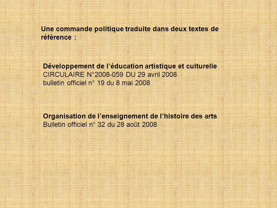Une commande politique traduite dans deux textes de référence : Développement de léducation artistique et culturelle CIRCULAIRE N°2008-059 DU 29 avril