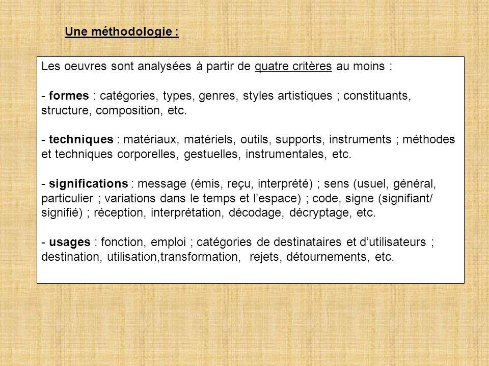 Les oeuvres sont analysées à partir de quatre critères au moins : - formes : catégories, types, genres, styles artistiques ; constituants, structure,