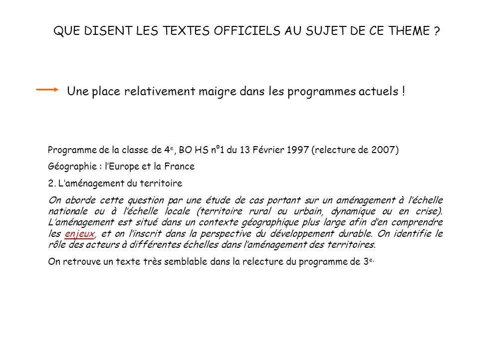 Programme de la classe de 3 e, B O n° 10 du 15 octobre 1998 (relecture de 2007) B.
