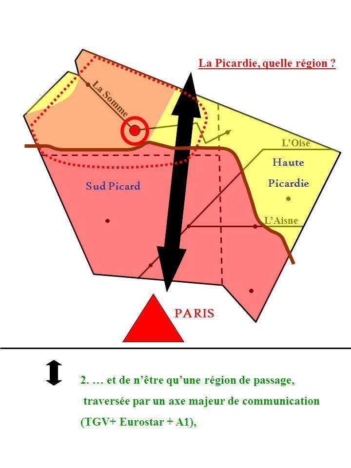 La Picardie, quelle région ? La Somme LOise LAisne 2. … et de nêtre quune région de passage, traversée par un axe majeur de communication (TGV+ Eurost