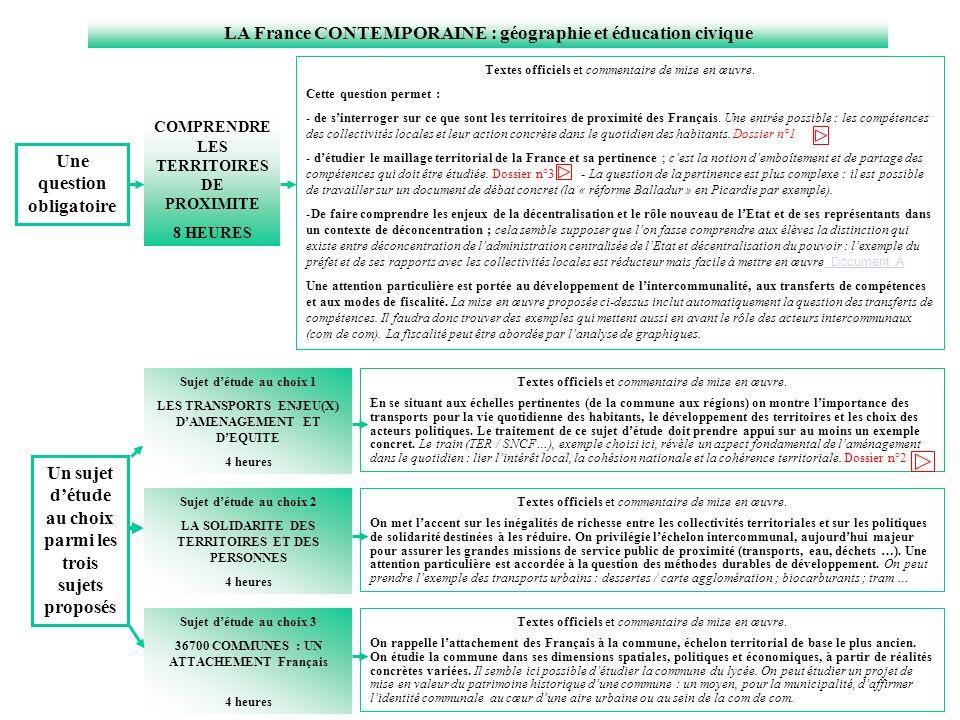 LA France CONTEMPORAINE : géographie et éducation civique COMPRENDRE LES TERRITOIRES DE PROXIMITE 8 HEURES Sujet détude au choix 1 LES TRANSPORTS ENJE