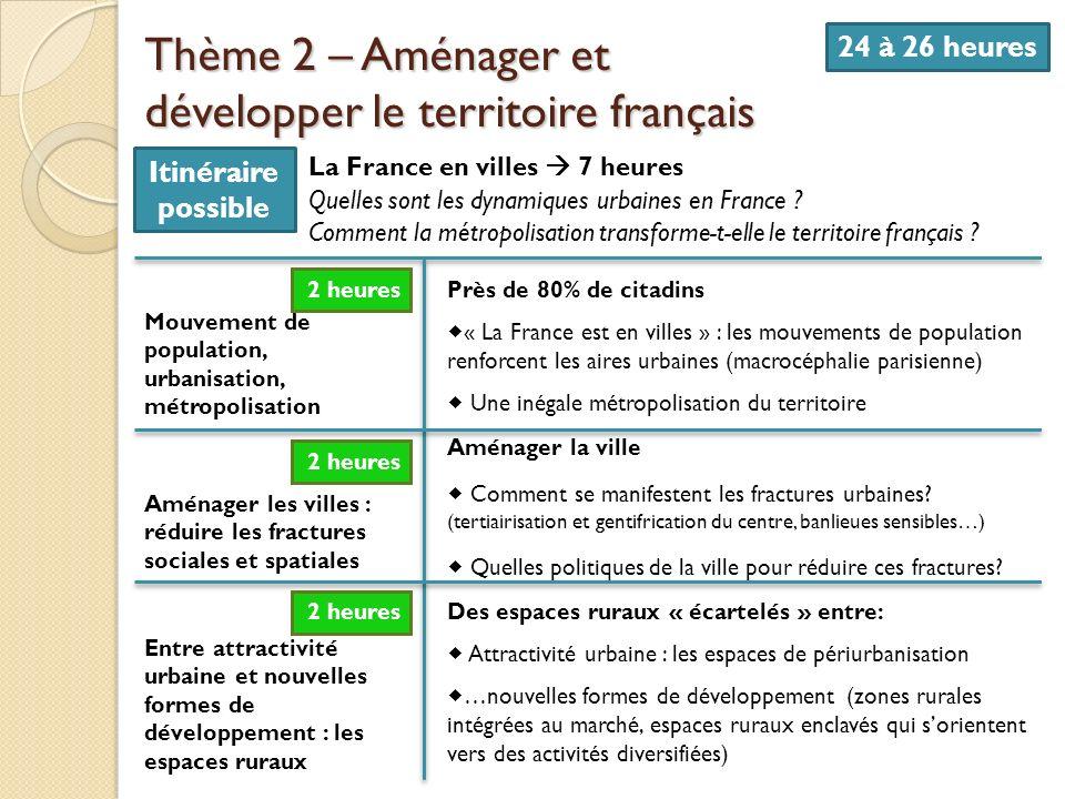 Thème 2 – Aménager et développer le territoire français 24 à 26 heures La France en villes 7 heures Quelles sont les dynamiques urbaines en France ? C