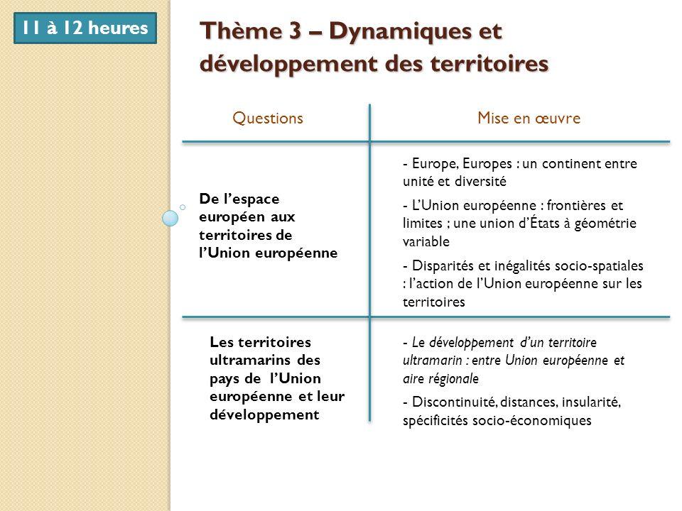 Thème 3 – Dynamiques et développement des territoires QuestionsMise en œuvre De lespace européen aux territoires de lUnion européenne Les territoires