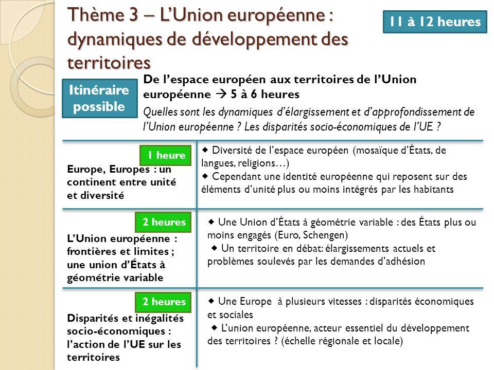 Thème 3 – LUnion européenne : dynamiques de développement des territoires 11 à 12 heures De lespace européen aux territoires de lUnion européenne 5 à