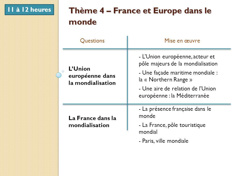 Thème 4 – France et Europe dans le monde QuestionsMise en œuvre LUnion européenne dans la mondialisation La France dans la mondialisation - LUnion eur