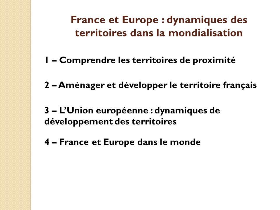 1 – Comprendre les territoires de proximité 2 – Aménager et développer le territoire français 3 – LUnion européenne : dynamiques de développement des