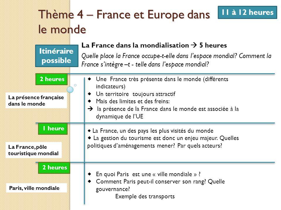 Thème 4 – France et Europe dans le monde 11 à 12 heures La France dans la mondialisation 5 heures Quelle place la France occupe-t-elle dans lespace mo