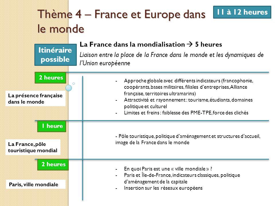 Thème 4 – France et Europe dans le monde 11 à 12 heures La France dans la mondialisation 5 heures Liaison entre la place de la France dans le monde et