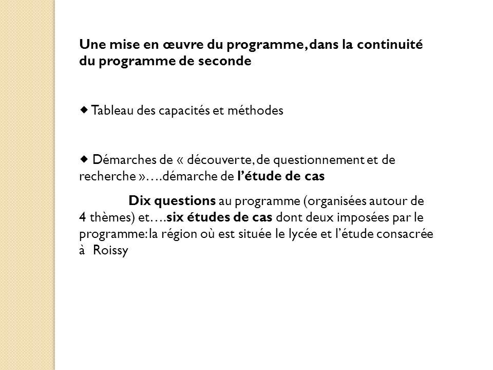 Une mise en œuvre du programme, dans la continuité du programme de seconde Tableau des capacités et méthodes Démarches de « découverte, de questionnem