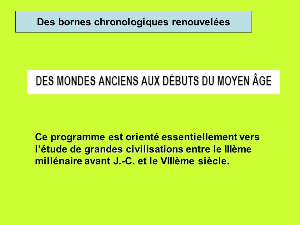 Des bornes chronologiques renouvelées grandes civilisations Ce programme est orienté essentiellement vers létude de grandes civilisations entre le IIIème millénaire avant J.-C.