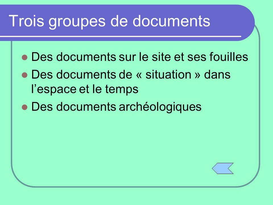 Trois groupes de documents Des documents sur le site et ses fouilles Des documents de « situation » dans lespace et le temps Des documents archéologiq