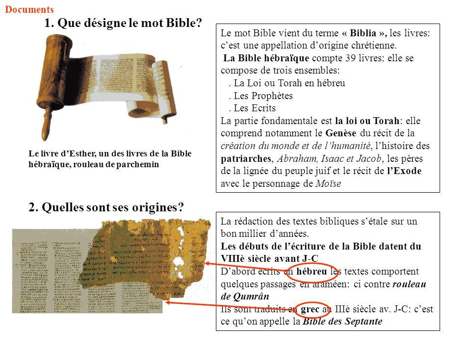 Le mot Bible vient du terme « Biblia », les livres: cest une appellation dorigine chrétienne. La Bible hébraïque compte 39 livres: elle se compose de