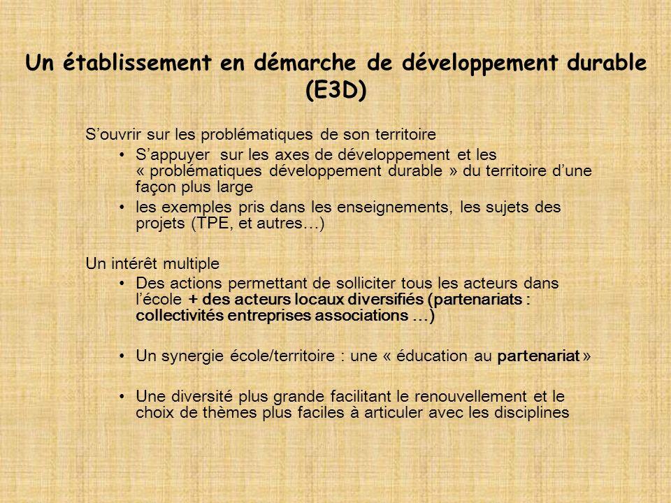 Un établissement en démarche de développement durable (E3D) Souvrir sur les problématiques de son territoire Sappuyer sur les axes de développement et les « problématiques développement durable » du territoire dune façon plus large les exemples pris dans les enseignements, les sujets des projets (TPE, et autres…) Un intérêt multiple Des actions permettant de solliciter tous les acteurs dans lécole + des acteurs locaux diversifiés (partenariats : collectivités entreprises associations …) Un synergie école/territoire : une « éducation au partenariat » Une diversité plus grande facilitant le renouvellement et le choix de thèmes plus faciles à articuler avec les disciplines