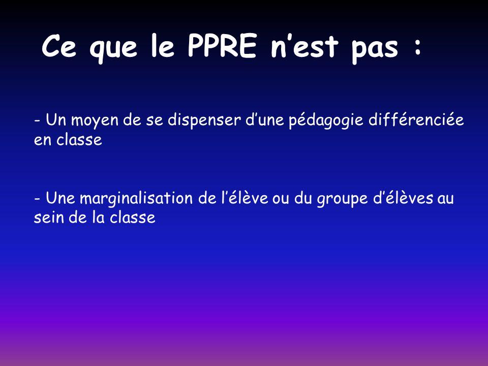 - Un moyen de se dispenser dune pédagogie différenciée en classe - Une marginalisation de lélève ou du groupe délèves au sein de la classe Ce que le PPRE nest pas :