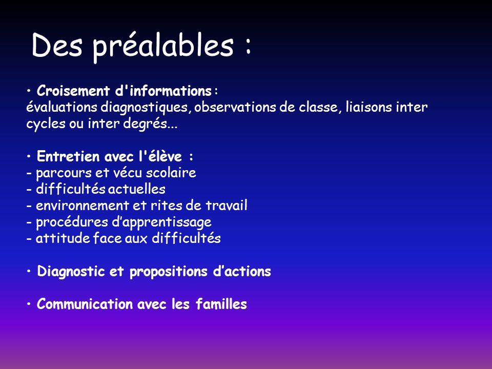 Des préalables : Croisement d'informations : évaluations diagnostiques, observations de classe, liaisons inter cycles ou inter degrés... Entretien ave
