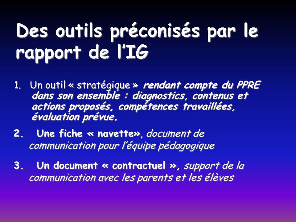 Des outils préconisés par le rapport de lIG 1. Un outil « stratégique » rendant compte du PPRE dans son ensemble : diagnostics, contenus et actions pr