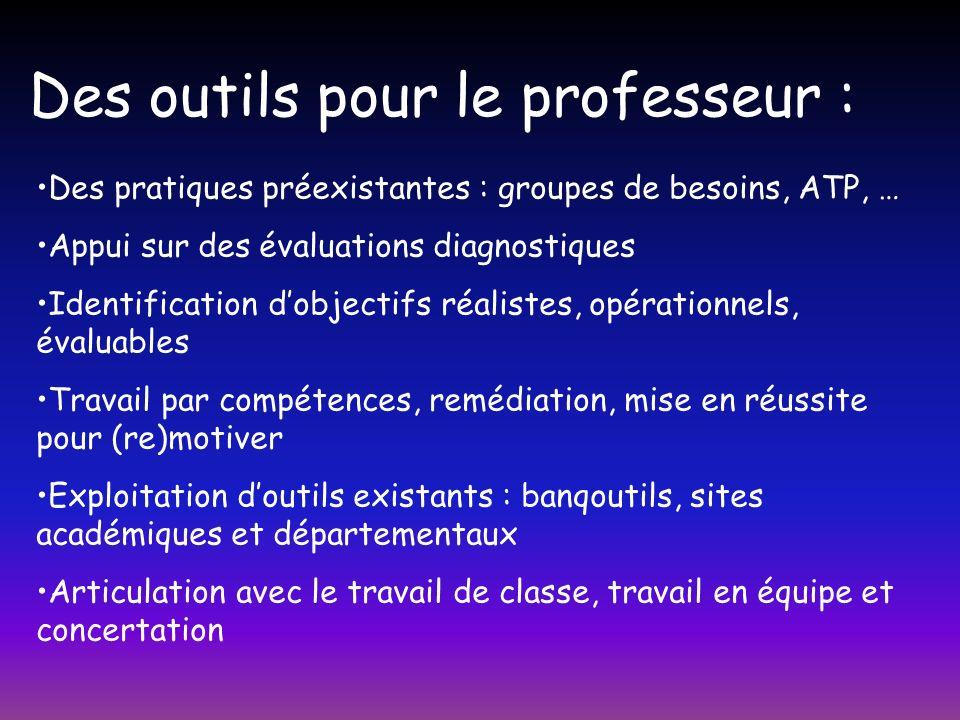 Des outils pour le professeur : Des pratiques préexistantes : groupes de besoins, ATP, … Appui sur des évaluations diagnostiques Identification dobjec