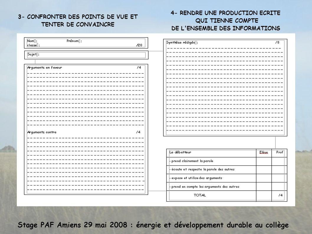 Stage PAF Amiens 29 mai 2008 : énergie et développement durable au collège 3- CONFRONTER DES POINTS DE VUE ET TENTER DE CONVAINCRE 4- RENDRE UNE PRODUCTION ECRITE QUI TIENNE COMPTE DE L ENSEMBLE DES INFORMATIONS