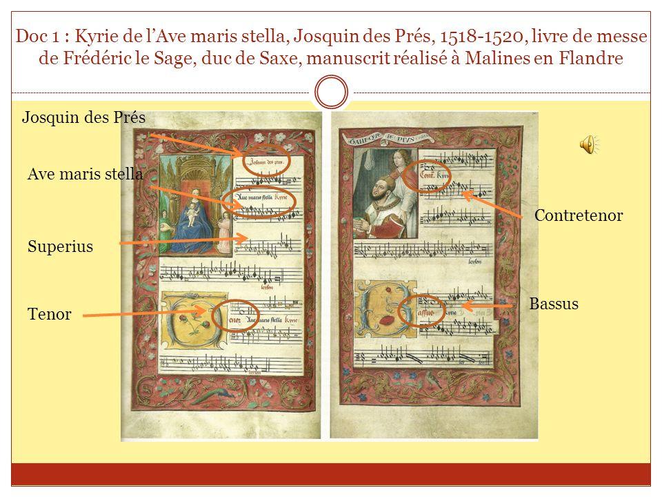 Doc 1 : Kyrie de lAve maris stella, Josquin des Prés, 1518-1520, livre de messe de Frédéric le Sage, duc de Saxe, manuscrit réalisé à Malines en Fland