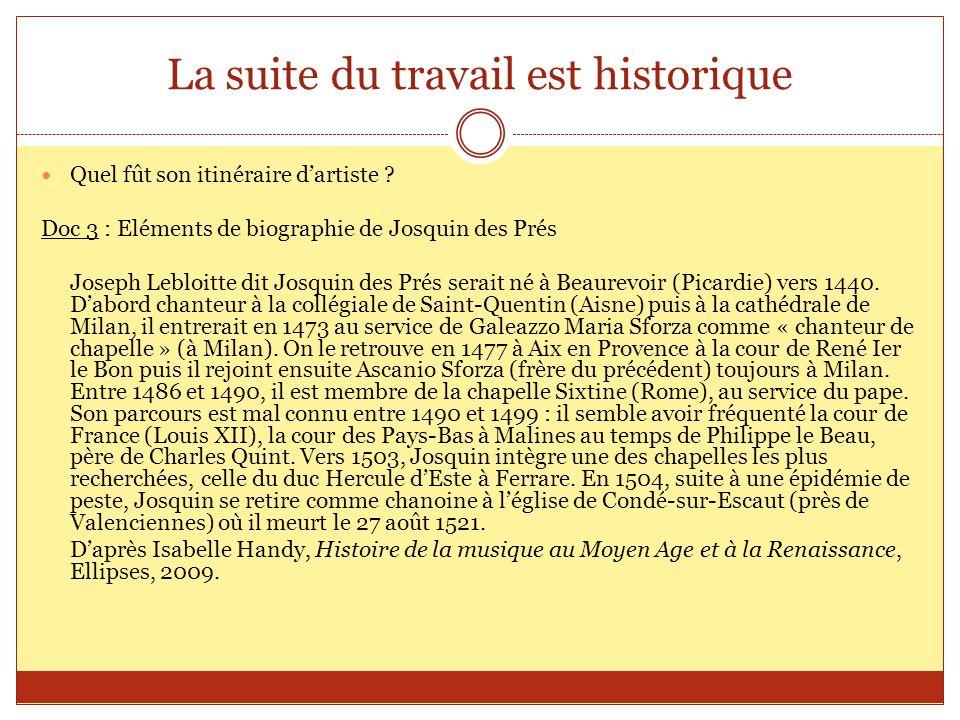 La suite du travail est historique Quel fût son itinéraire dartiste ? Doc 3 : Eléments de biographie de Josquin des Prés Joseph Lebloitte dit Josquin