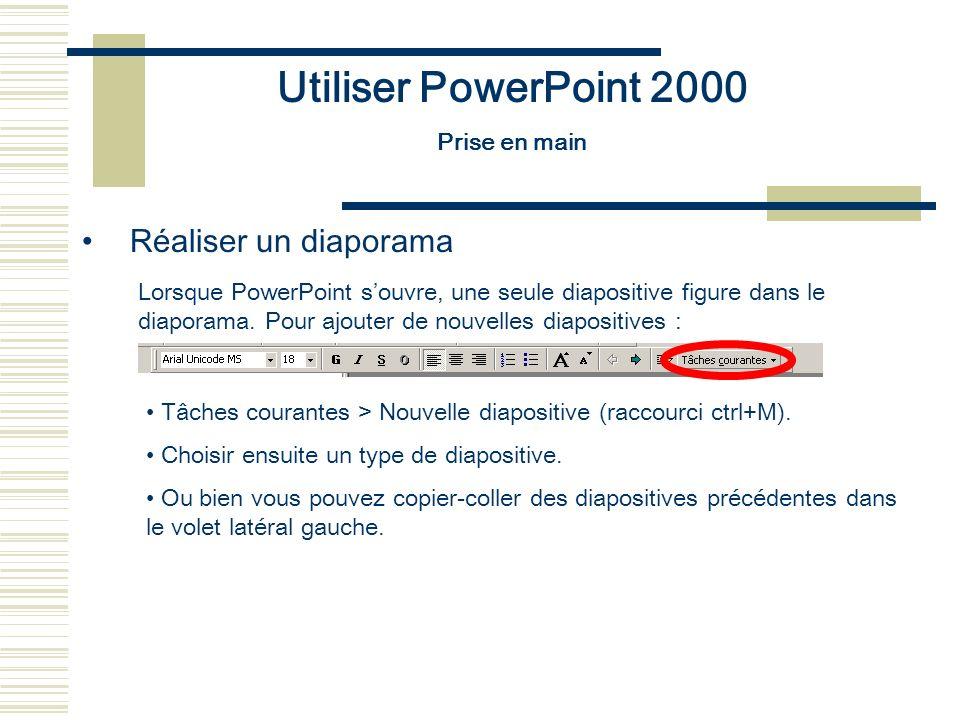 Utiliser PowerPoint 2000 Prise en main Réaliser un diaporama Lorsque PowerPoint souvre, une seule diapositive figure dans le diaporama. Pour ajouter d