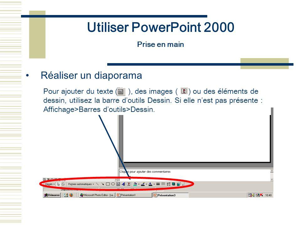 Utiliser PowerPoint 2000 Prise en main Réaliser un diaporama Pour ajouter du texte ( ), des images ( ) ou des éléments de dessin, utilisez la barre do