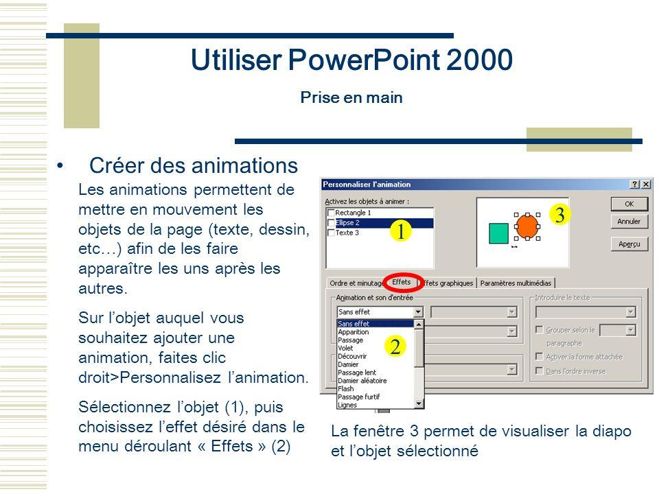 Utiliser PowerPoint 2000 Prise en main Créer des animations Les animations permettent de mettre en mouvement les objets de la page (texte, dessin, etc
