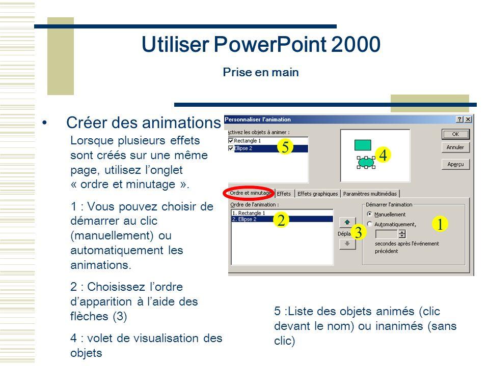 Utiliser PowerPoint 2000 Prise en main Créer des animations Lorsque plusieurs effets sont créés sur une même page, utilisez longlet « ordre et minutag