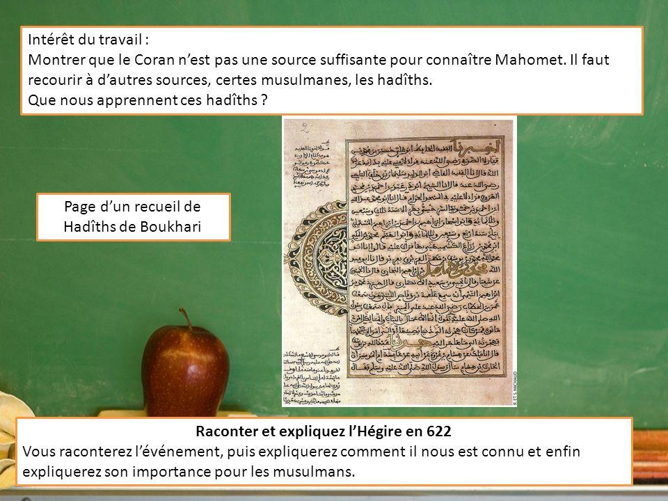Page dun recueil de Hadîths de Boukhari Intérêt du travail : Montrer que le Coran nest pas une source suffisante pour connaître Mahomet. Il faut recou