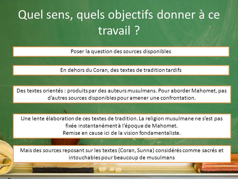 Un travail sur les sources Rappel : une démarche proposée pour le lycée sur le site de lacadémie de Lille (Enseigner une question sensible : le fait religieux en classe de seconde.