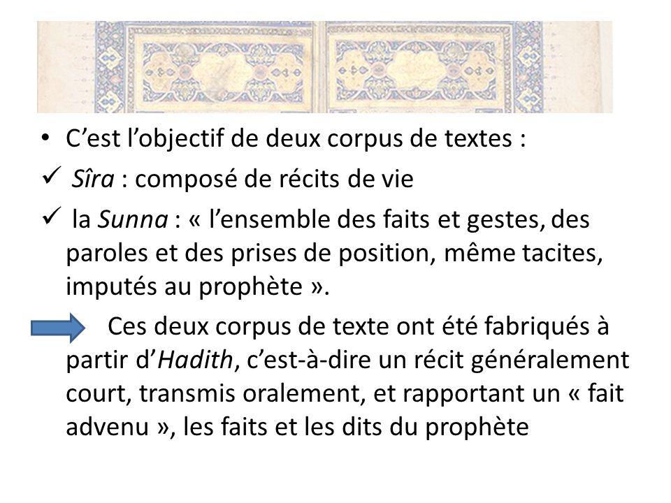 Cest lobjectif de deux corpus de textes : Sîra : composé de récits de vie la Sunna : « lensemble des faits et gestes, des paroles et des prises de pos