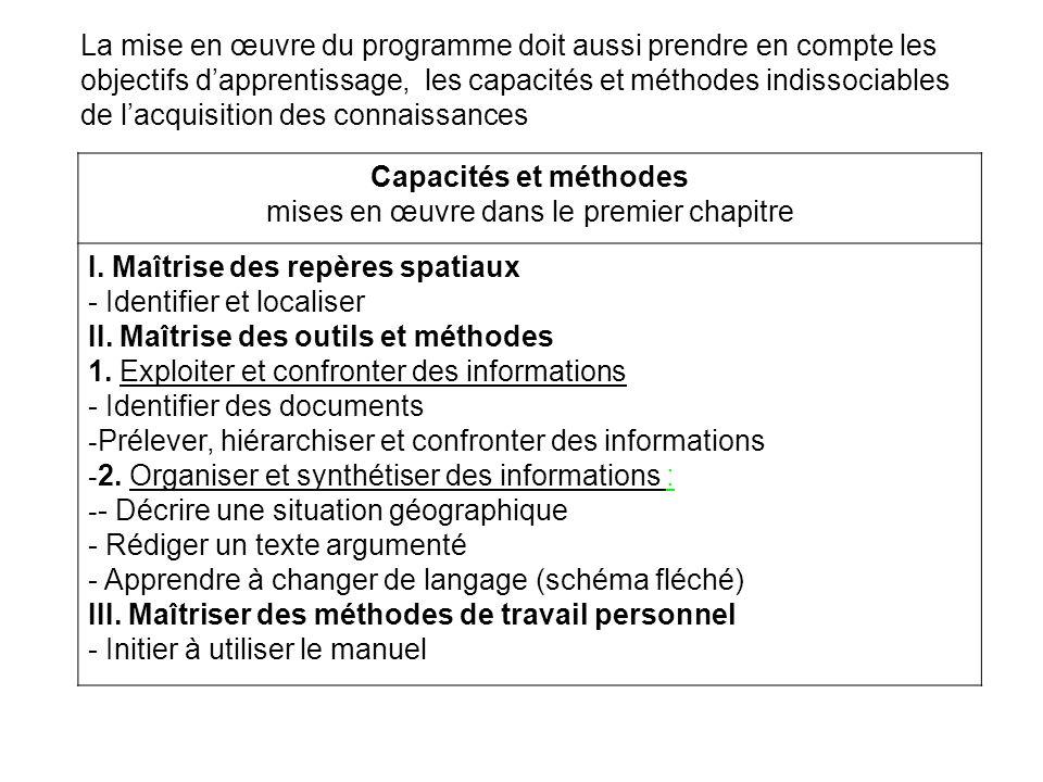 Capacités et méthodes mises en œuvre dans le premier chapitre I. Maîtrise des repères spatiaux - Identifier et localiser II. Maîtrise des outils et mé