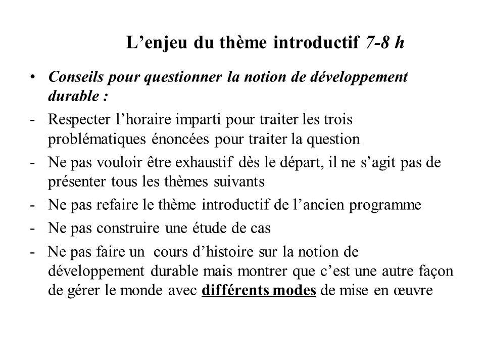 Lenjeu du thème introductif 7-8 h Conseils pour questionner la notion de développement durable : -Respecter lhoraire imparti pour traiter les trois pr