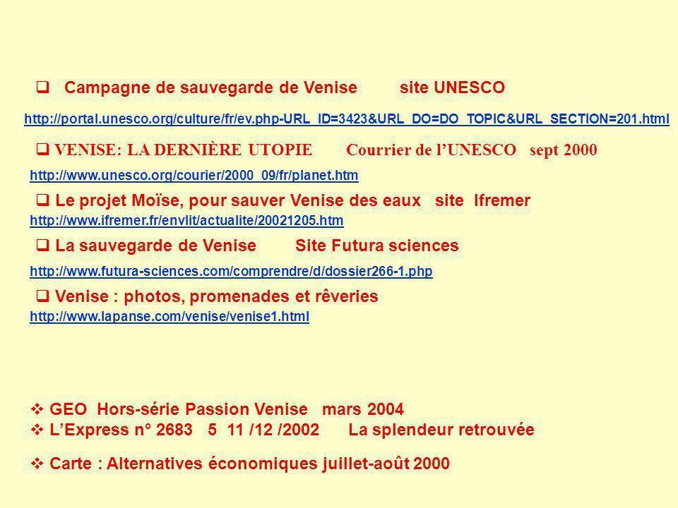 Campagne de sauvegarde de Venise site UNESCO http://portal.unesco.org/culture/fr/ev.php-URL_ID=3423&URL_DO=DO_TOPIC&URL_SECTION=201.html VENISE: LA DE