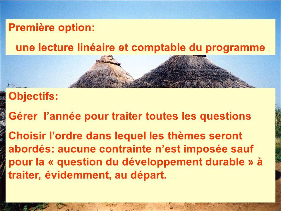 Première option: une lecture linéaire et comptable du programme Objectifs: Gérer lannée pour traiter toutes les questions Choisir lordre dans lequel l